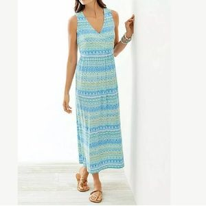 J Jill Small Blue Green Aqua Green Maxi Dress Ikat